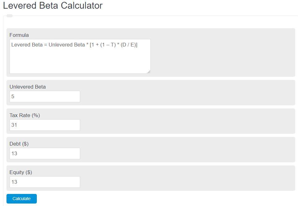 levered beta calculator