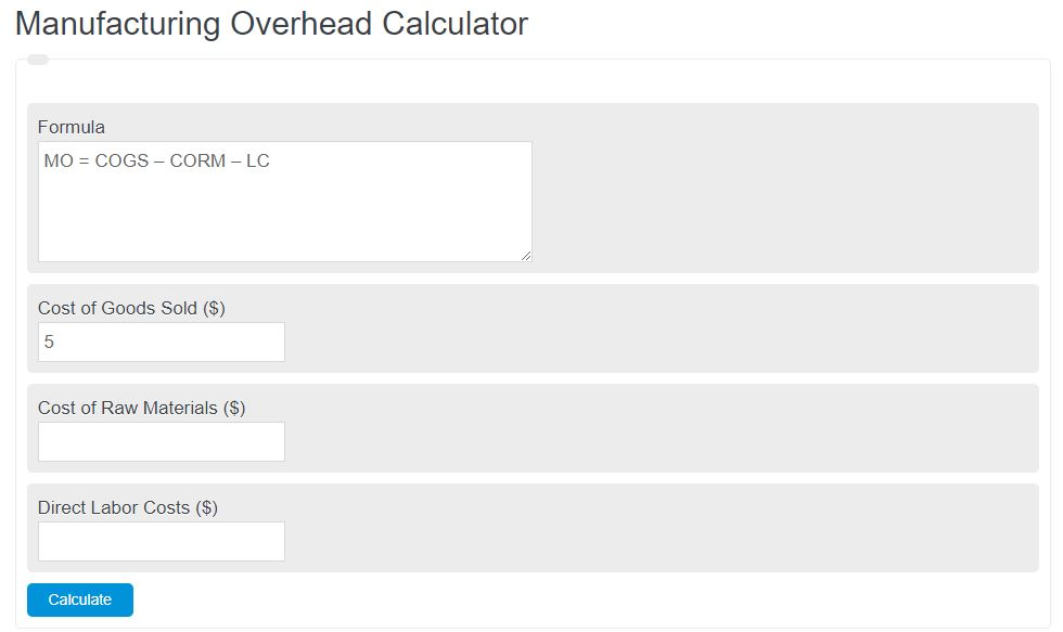 manufacturing overhead calculator