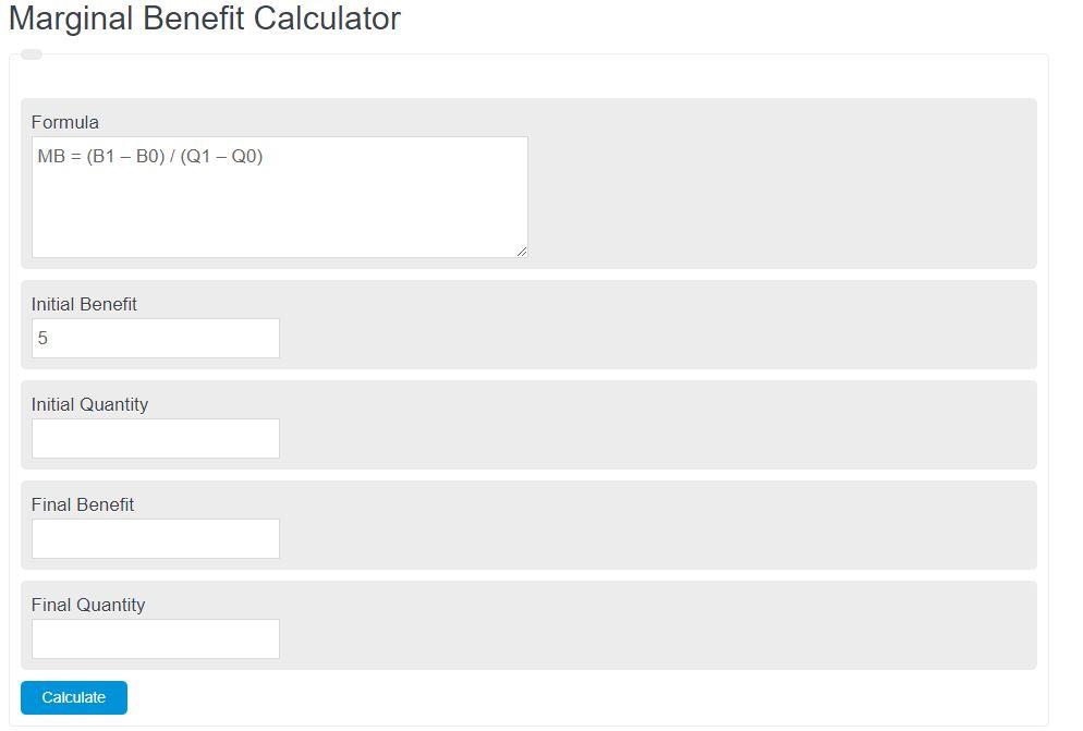 marginal benefit calculator