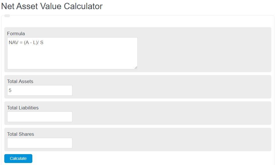 net asset value calculator