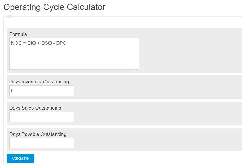 operating cycle calculator