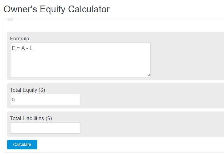 owner's equity calculator