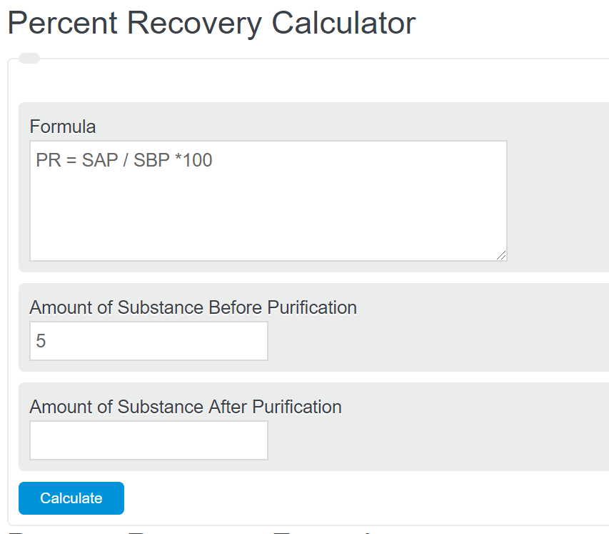 percent recovery calculator