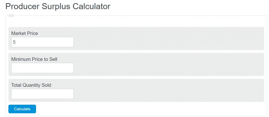 producer surplus calculator