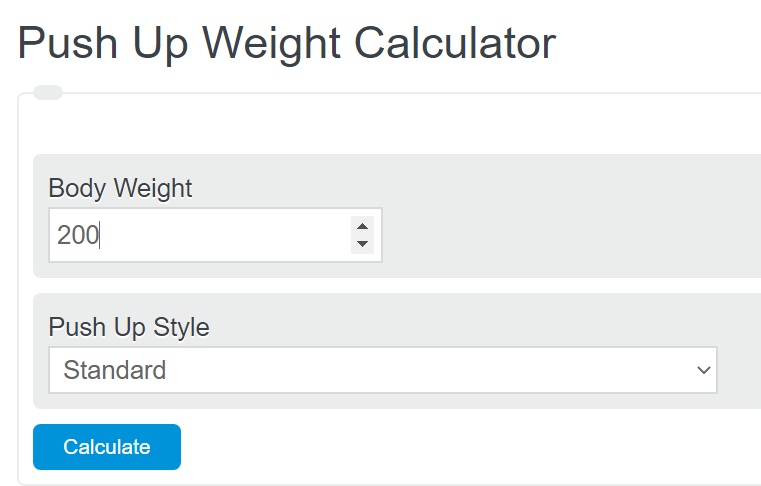 push up weight calculator