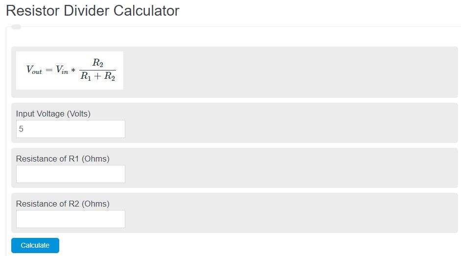 resistor divider calculator