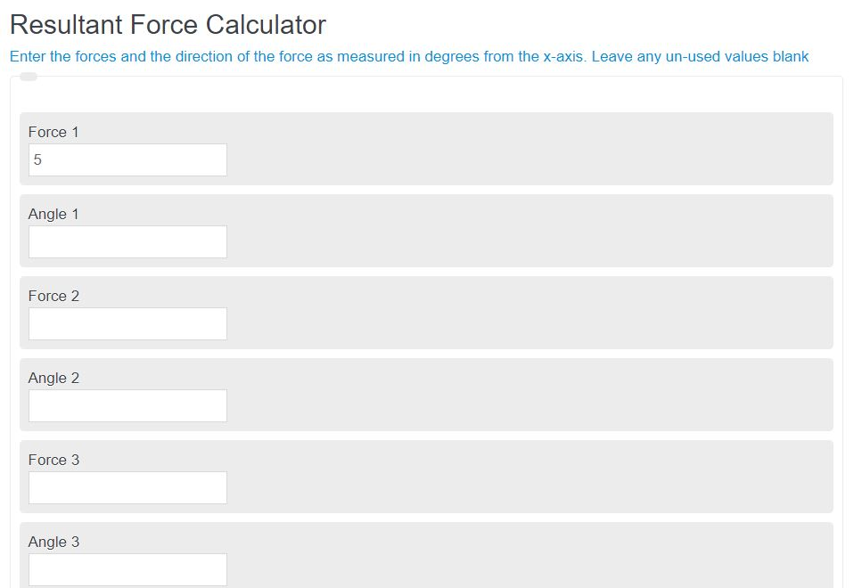 resultant force calculator