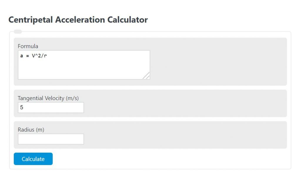 centripetal acceleration calculator