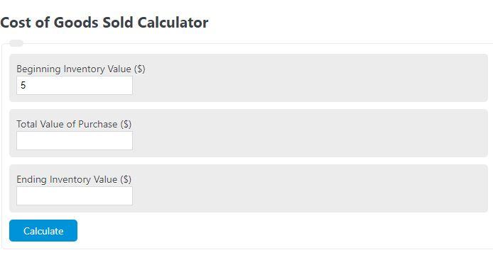 cost of goods sold calculator