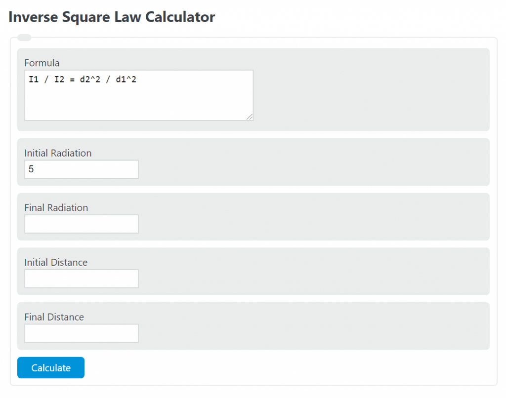 inverse square law calculator