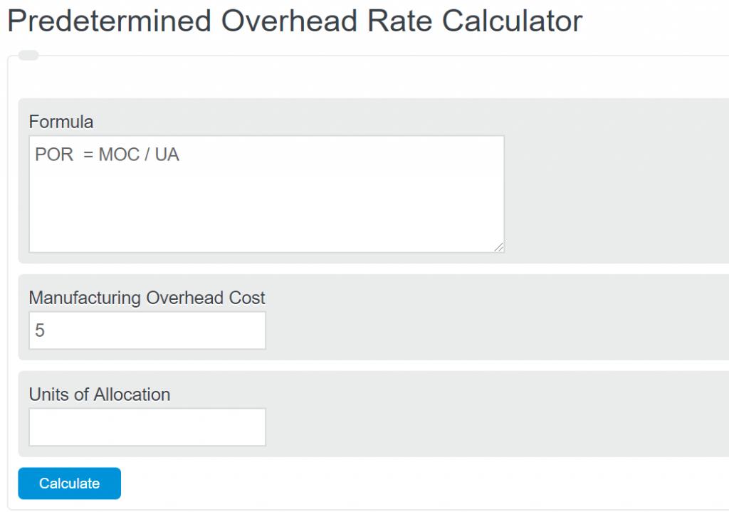 predetermined overhead rate calculator