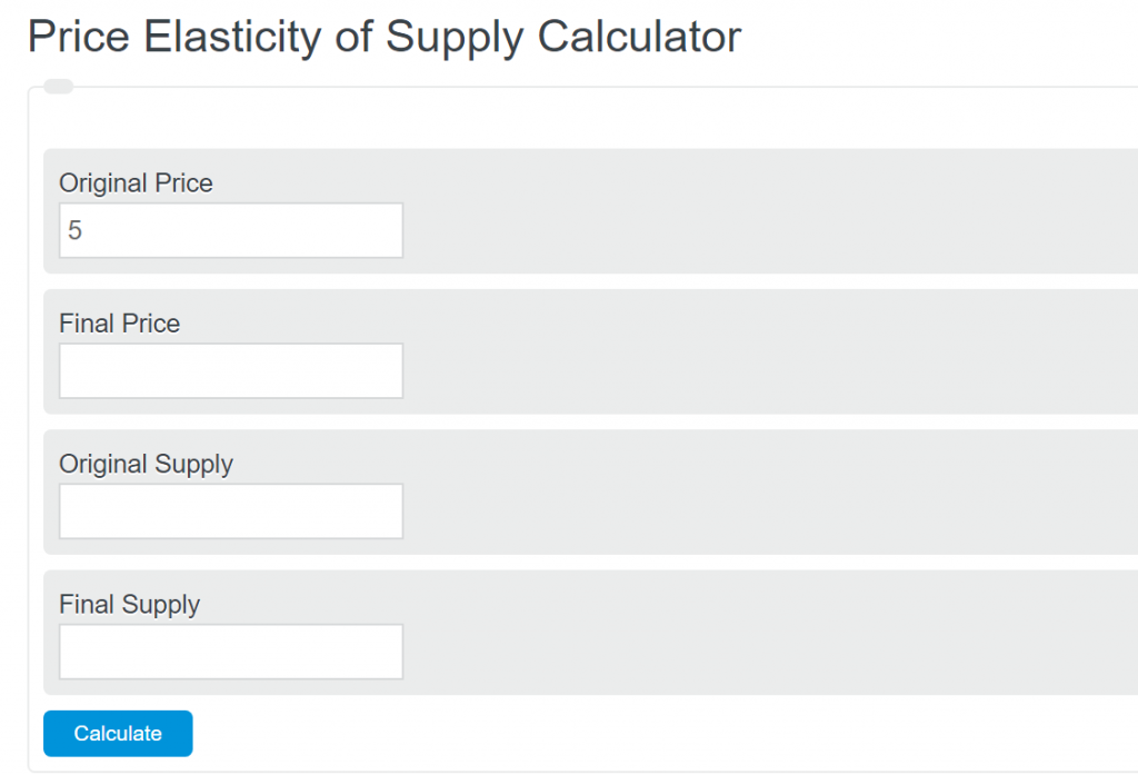 price elasticity of supply calculator