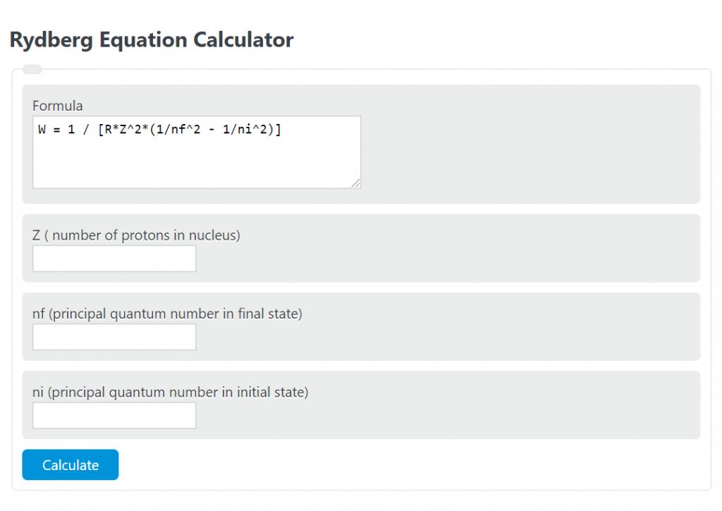 rydberg equation calculator