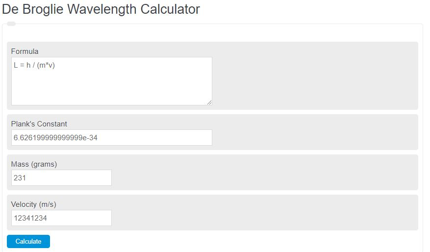 De Broglie Wavelength Calculator