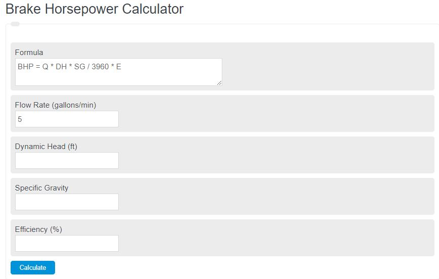 brake horsepower calculator