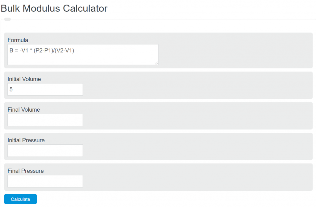 Bulk modulus calculator