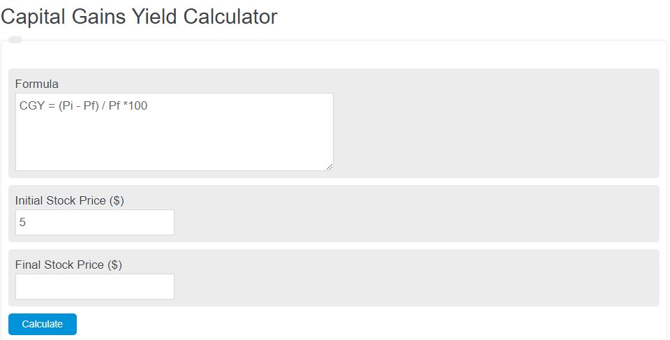 capital gains yield calculator