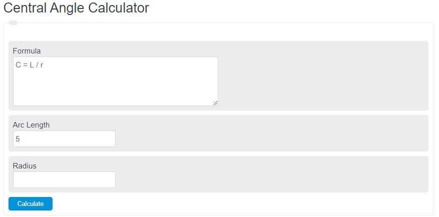 central angle calculator