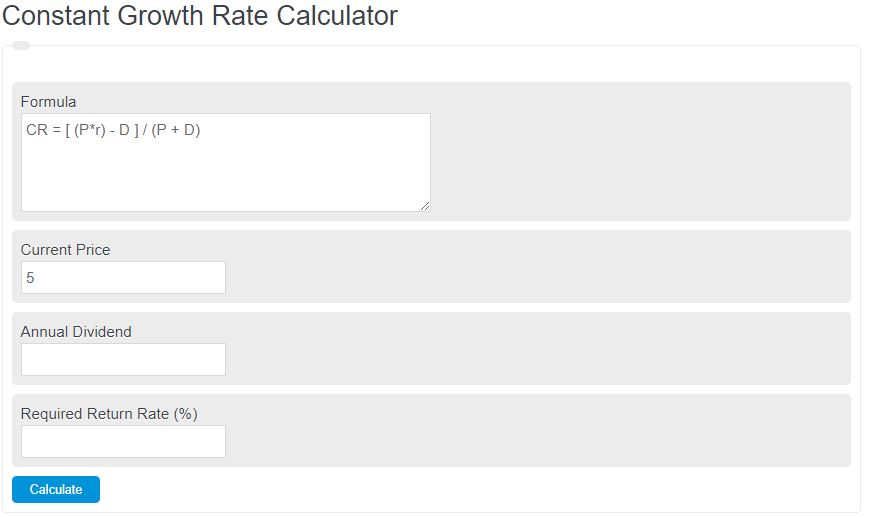 constant growth rate calculator