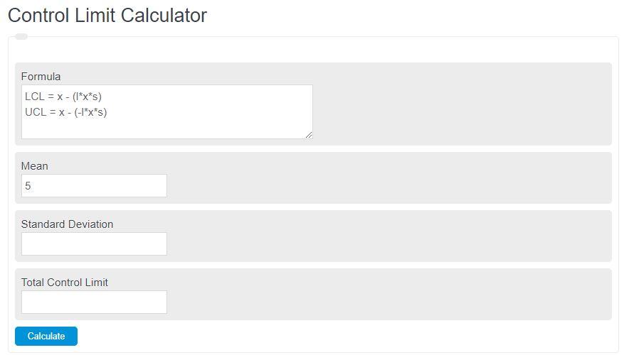 control limit calculator
