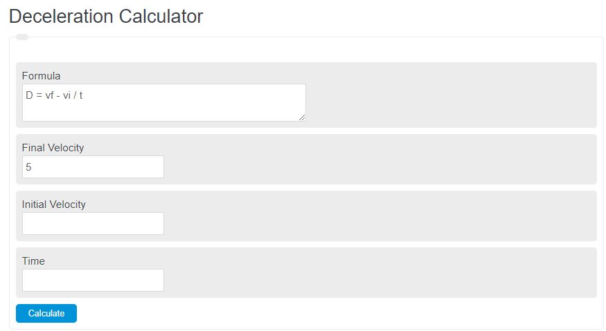 deceleration calculator