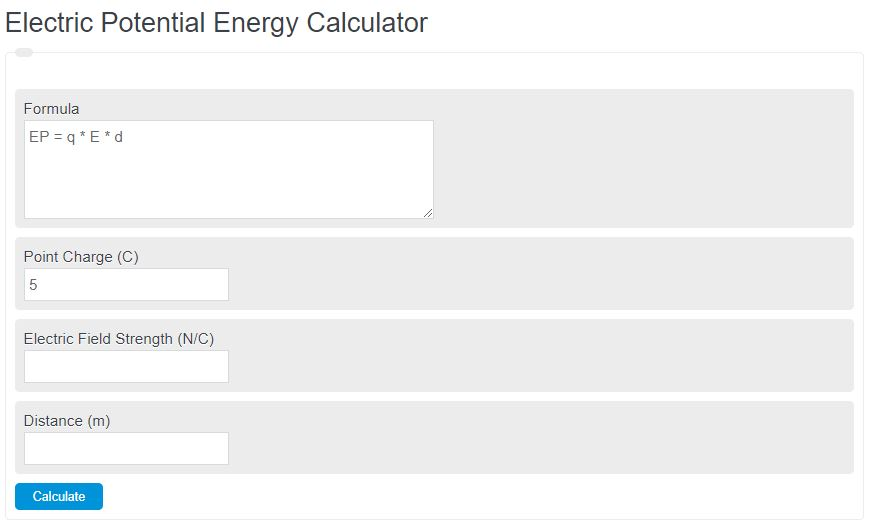 electric potential energy calculator