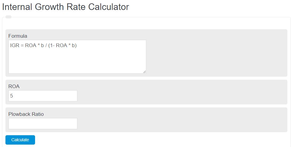 internal growth rate calculator