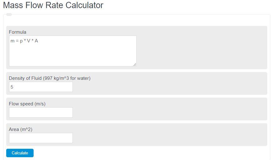 mass flow rate calculator