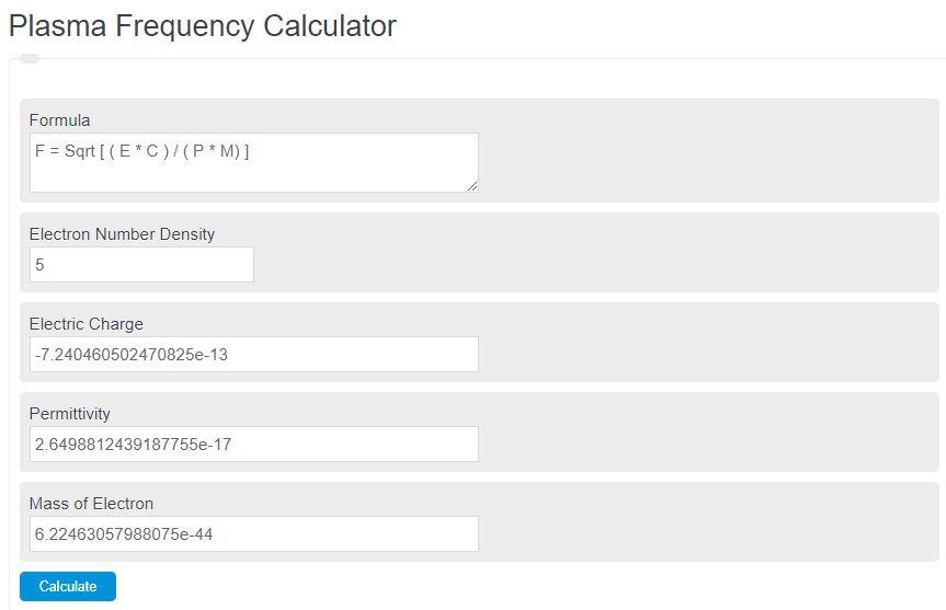 plasma frequency calculator
