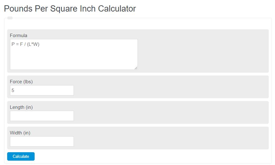 pounds per square inch calculator