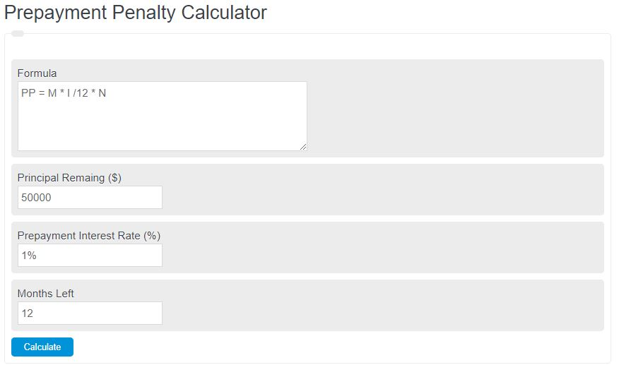 prepayment penalty calculator