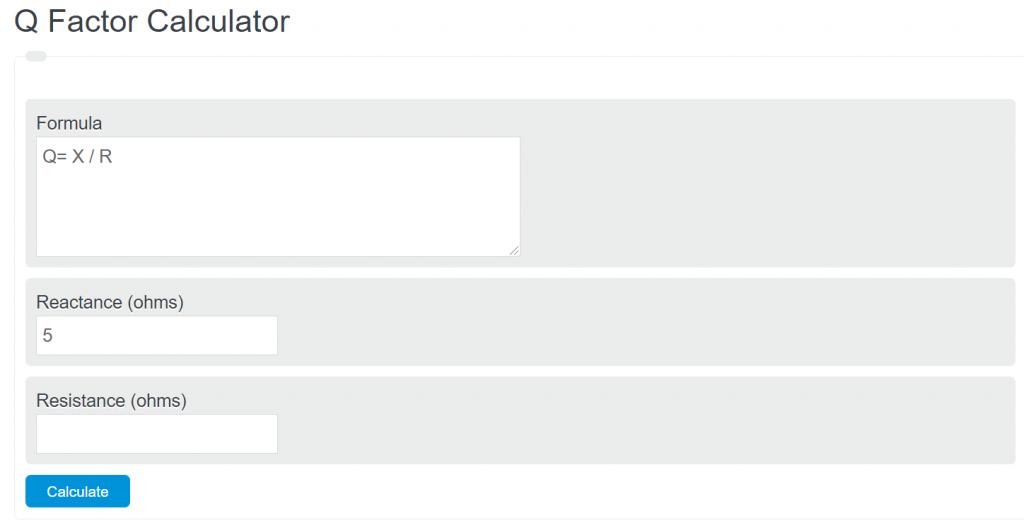 q factor calculator