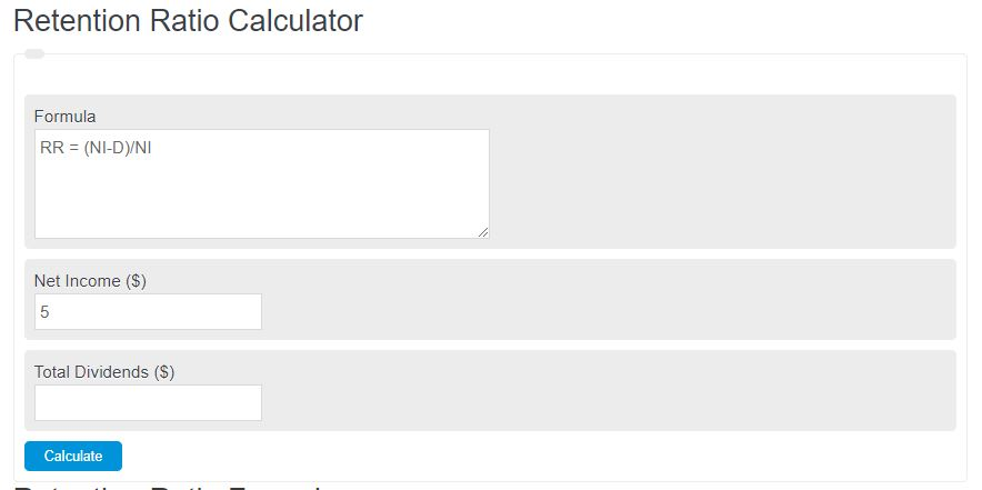 retention ratio calculator