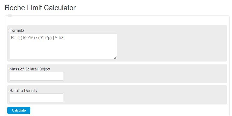 roche limit calculator