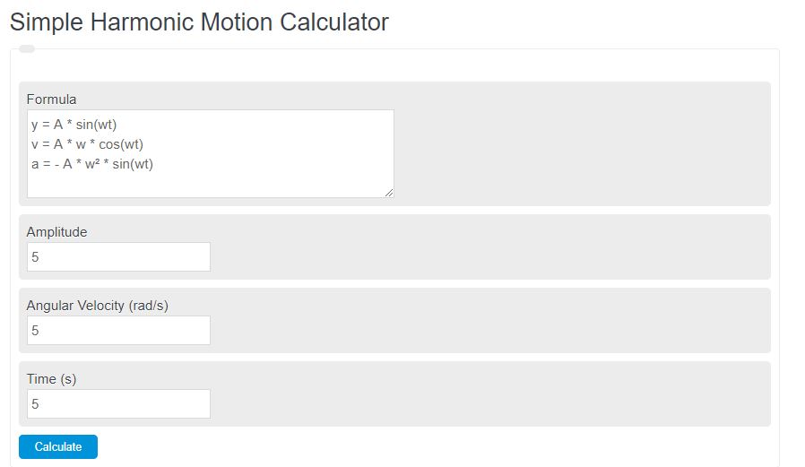 simple harmonic motion calculator