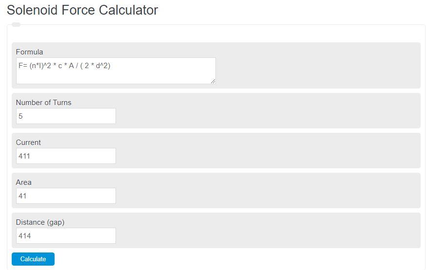 solenoid force calculator