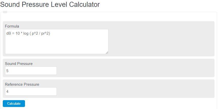 sound pressure level calculator