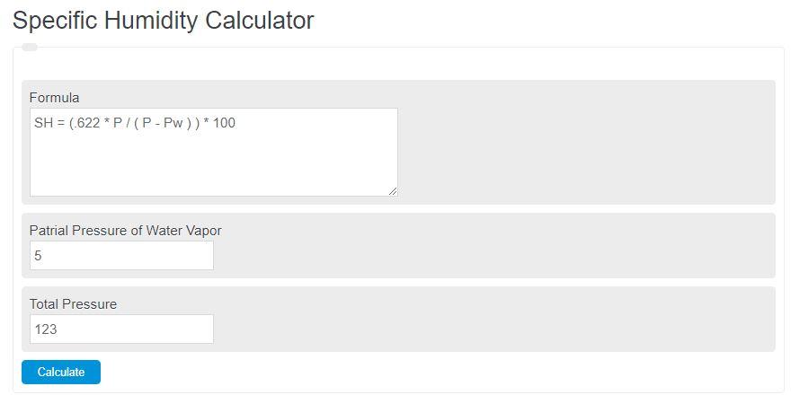 specific humidity calculator