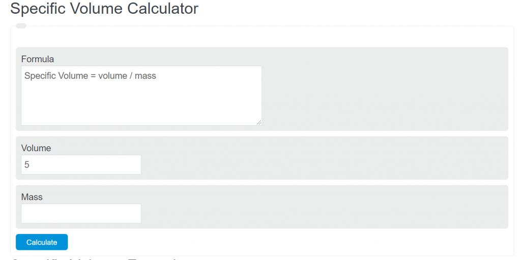 specific volume calculator