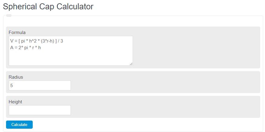 spherical cap calculator