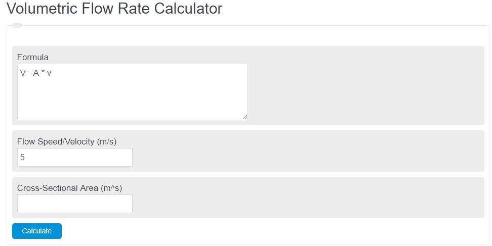 volumetric flow rate calculator