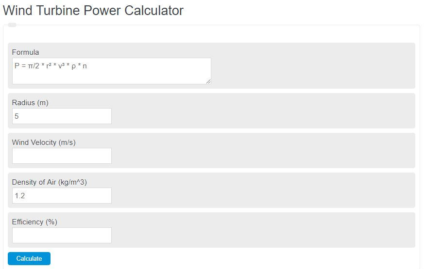 wind turbine power calculator