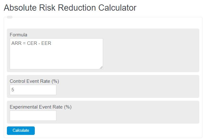 absolute risk reduction calculator
