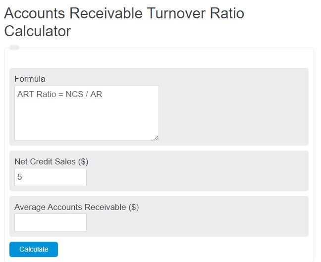 accounts receivable turnover ratio calculator