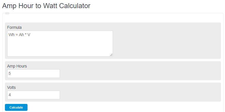 amp hour to watt hour calculator