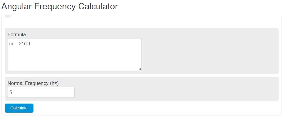 angular frequency calculator