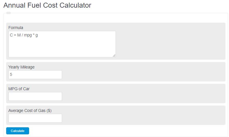 annual fuel cost calculator