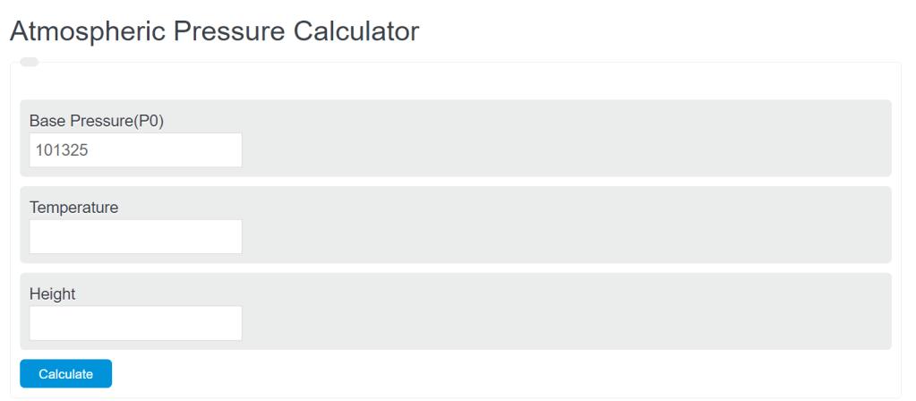 atmospheric pressure calculator