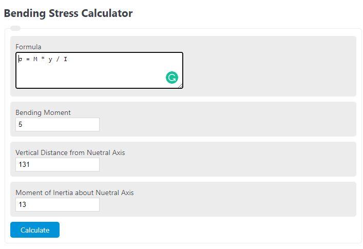 bending stress calculator