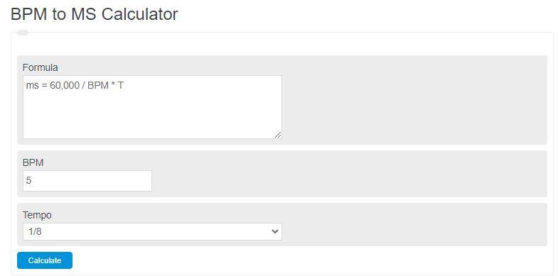 bpm to ms calculator